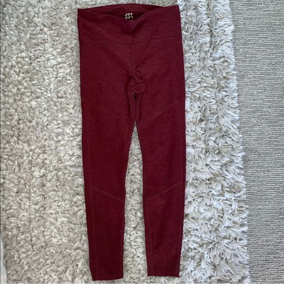 JoyLab Women/'s High-Waisted Lasercut Leggings Burgundy Size M 7//8 Length